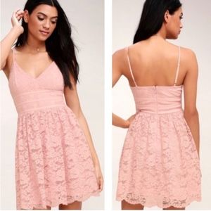 LULUS | Wish Me Luxe Blush Pink Lace Skater Dress